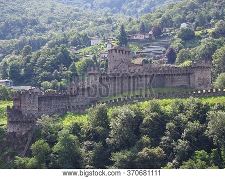 Fortification Of Montebello Castle In European Bellinzona City, Capital Of Canton Ticino In Switzerl
