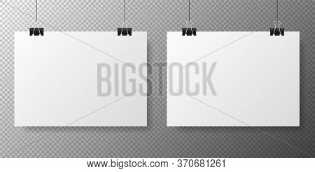 Blank White Poster Template On Transparent With Gradient Background. Affiche, Paper Sheet Hanging On