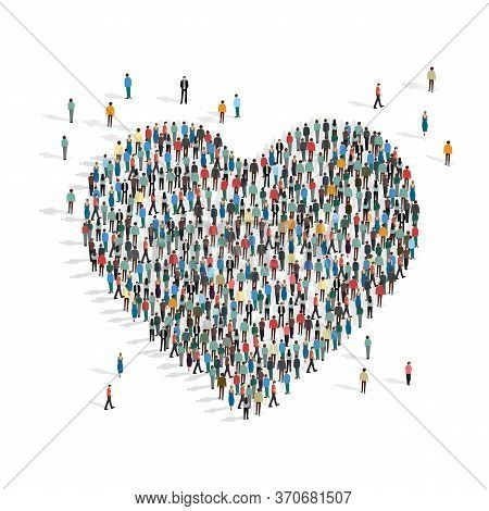 Donations And Volunteering Concept. Heart Made By People Mob On White Background, Vector Illustratio