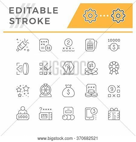Set Line Icons Of Lottery Isolated On White. Editable Stroke. Jackpot, Ticket, Combination, Mobile G