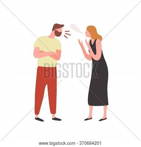 Bearded Irritated Guy And Angry Woman Scream Each Other Vector Flat Illustration. Conflict Between C