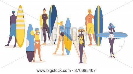 Set Of Happy Young People Of Different Nationalities With Surfboards.