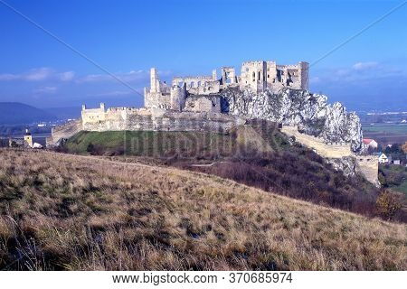 Historical Beckov Castle Near The Trencin City In Slovakia, Europe, Beautiful And Romantic Castle In