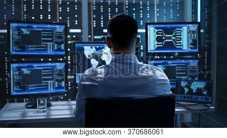 Businessman Touching Technology Global Networking Security Information Safety And Encryption With Ic