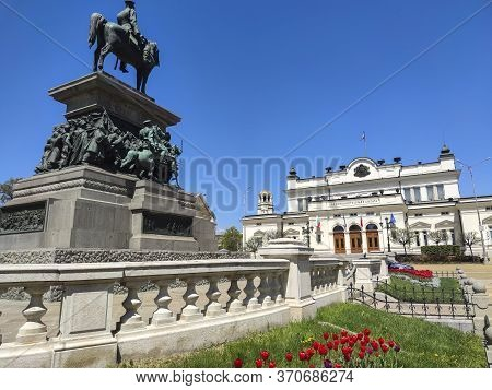 Sofia, Bulgaria - April 24, 2020: The Monument Of Tsar Liberator Alexander Ii Of Russia In City Of S