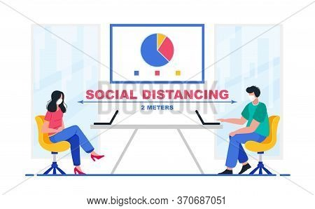 Social Distancing In A Meeting. Business Office People Keep Social Distancing Meeting Room. New Norm