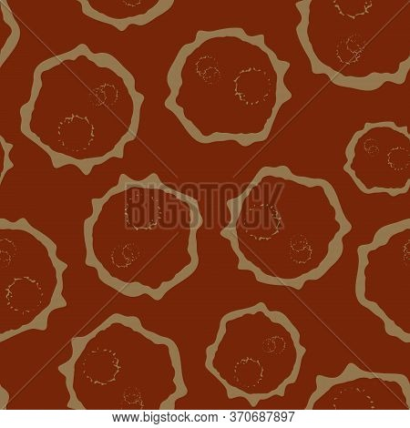 Abstract Moon Crater Vector Seamless Pattern Background. Naive Style Asteroid Imprints As Blended Mo