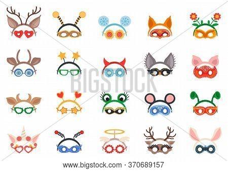 Masquerade Head Decor And Mask Set. Vector