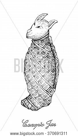 Holidays And Celebrations, Illustration Hand Drawn Sketch Of Canopic Jar Of Mummy Isolated On White