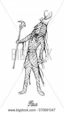 Illustration Hand Drawn Sketch Of Ra Or Re Isolated On White Background. A God Associated With The M