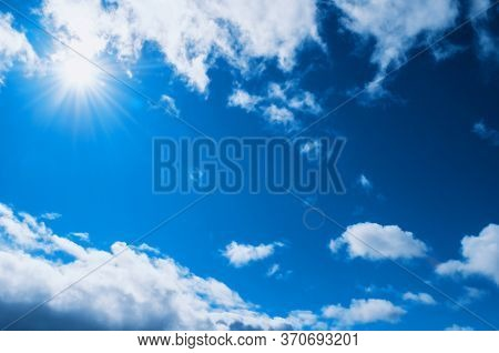 Dramatic blue sky background, vast sky landscape. Colorful blue sky view in bright tones. Sky landscape, vast sky scene, blue sky background, Sky nature view, vast sky landscape, sky cloudy view