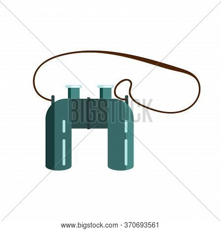 Binocular Illustration. Strap, Lens, Tool. Camping Concept. Illustration Can Be Used For Topics Like