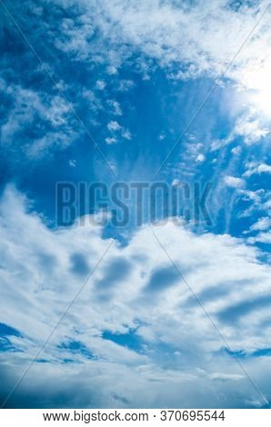 Blue sky background, vast sky landscape panoramic scene. Colorful sky view in bright tones, vertical sky background. Sky nature, colorful sky view, vast sky scene. Sky landscape with dramatic sky clouds