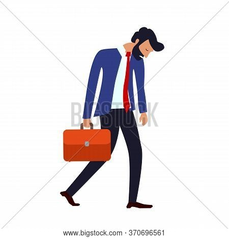 Concept Of Burnout At Work Or Drooping State After Failure At Work. Drooping Bearded Man In A Suit W