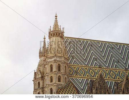 Colorful Roof With Geometric Patterns Of St. Stephens Cathedral In Vienna Austria