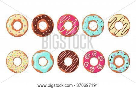 Colorful Donuts Set. Rows Of Sweet Doughnuts With Different Icing, Blue, Chocolate, Strawberry Top.