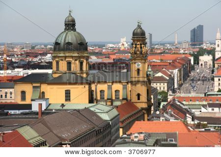 Cityscape of Munich Bavaria Germany. Theatine Church (Theatinerkirche). poster