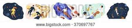 Set Of People Flying In Space Vector Flat Illustration. Collection Of Man And Woman Floating During