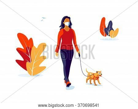 Solo Woman Wearing Face Mask With Dog Walking Isolated On White Background
