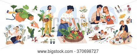 Set Of Different People Enjoy Gardening And Planting Vector Flat Illustration. Man And Woman With Fr