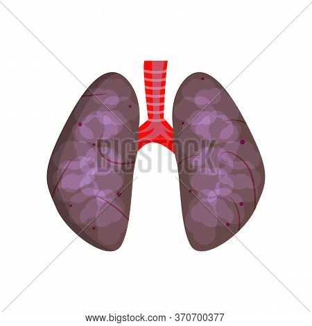 Unhealthy Lungs Illustration. Black Lungs, Breathing, Harmful Habit. Smoking Concept. Illustration C