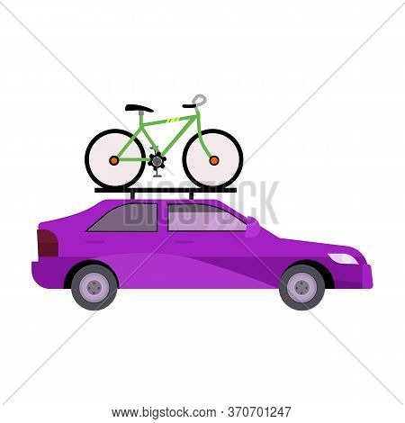 Bright Purple Car Illustration. Auto, Bicycle, Transportation. Transport Concept. Illustration Can B