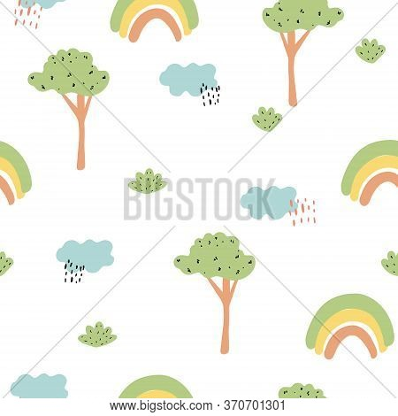 Cute Kids Seamless Pattern With Trees, Rainbows, Clouds. Doodle And Childish Drawing. Vector Illustr