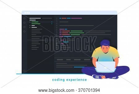 Coding Experience And Software Development. Flat Line Vector Illustration Of Cute Man Sitting In Lot