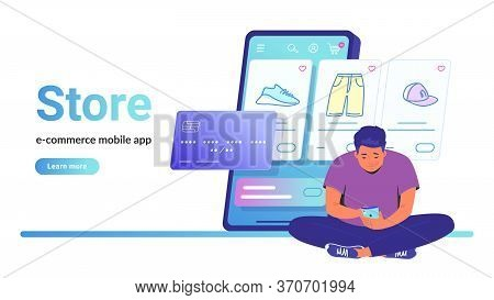 Online Store E-commerce Mobile App. Flat Line Vector Illustration Of Cute Man Sitting Alone In Lotus