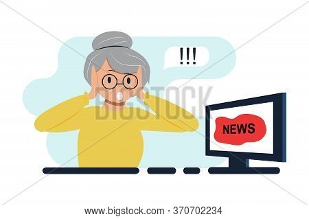 Elderly Woman Watching News On Tv, Computer. Shock Content, Fake News, Lies Or Gossip On Television.