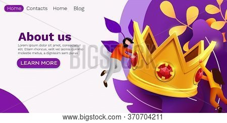 Small People Flying Around Big Golden Crown. Victory, Triumph Or Achievement Concept. Best Deal Or R
