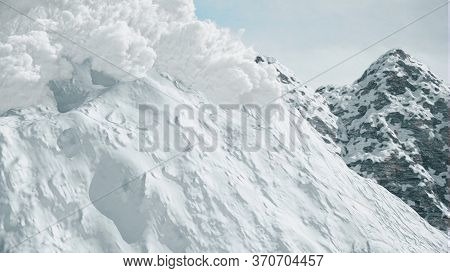 Computer Simulation Of A Large Snow Avalanche In The Mountains.