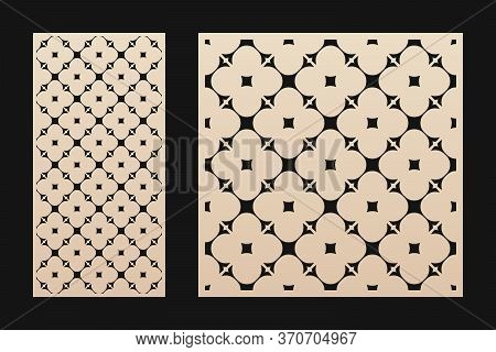 Laser Cut Pattern. Vector Template With Geometric Ornament, Floral Grid, Mesh, Lattice. Decorative S