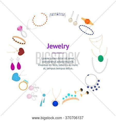 Cartoon Color Type Jewelry Banner Card Circle With Precious Gem Include Of Armlet, Earring, Pendant