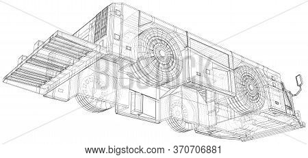 Tow Truck Transport In Airport Isolated. 3d Rendering. Wire-frame. The Layers Of Visible And Invisib