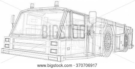 Tow Truck. Vector Wire-frame Isolated Transport In Airport On Background. Vector Rendering Of 3d