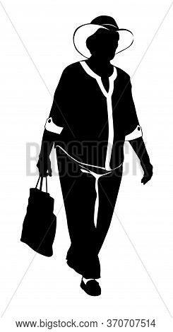 Silhouette Of A Walking Elderly Woman In A Hat And A Bag In Her Hands