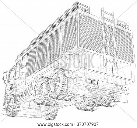 Wire-frame Fire Truck. Fire Engine Vector Illustration Of Car. The Layers Of Visible And Invisible L