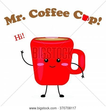 Mister Coffee Cup Cute Characters Vector Illustration Card