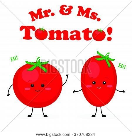 Mister And Missis Tomato Cute Characters Vector Illustration