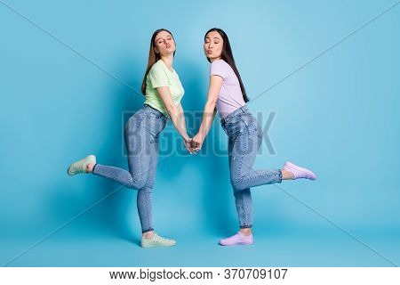 Full Size Profile Photo Of Two Affectionate Lesbians Couple Young Students Fellowship Hold Arms Send