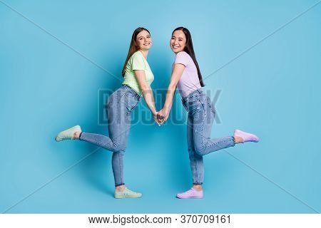 Full Body Profile Photo Of Two Affectionate Lesbians Couple Young Students Fellowship Buddies Hold A