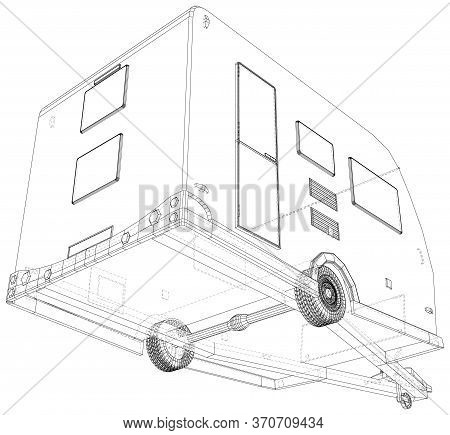 Vector Wire-frame Isolated Camper Van On Background. Vector Rendering Of 3d