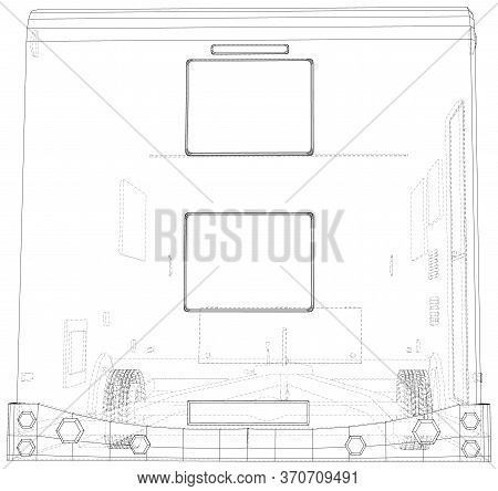 Camping Rv Trailer Vector. Wire-frame Line Isolated. Vector Rendering Of 3d