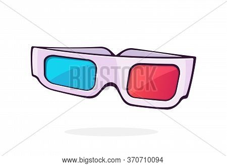 Paper 3d Glasses Front View. Stereo Retro Glasses For Three-dimensional Cinema. Symbol Of The Film I