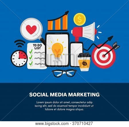 Vector Smm Elements. Social Media Marketing. Reach And Promotion Among Target Audience. Concept Is F