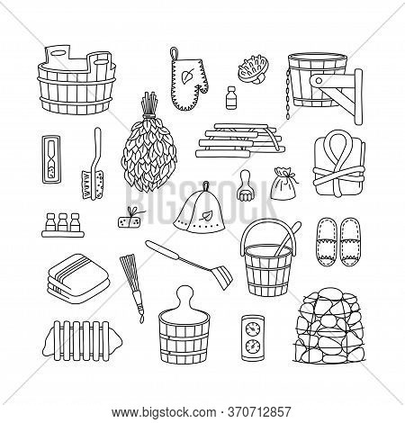 Sauna Accessories - Washer, Broom, Tub, Bucket, Towel And Other. Bath Accessories Made Of Wood. Set
