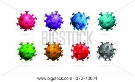 Large Collection Of Coronavirus Molecules Isolated On A White Background. Coloured Three-dimensional