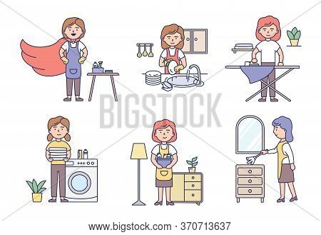 Professional Cleaning Service And Housework Concept. Set Of Women Housewives In Uniform Make Housewo