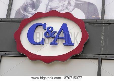 Bordeaux , Aquitaine / France - 05 12 2020 : C&a Logo Street Sign Shop Chain Fashion Clothing Fashio